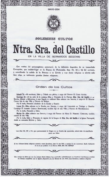 Programa de cultos. Subida año 1904